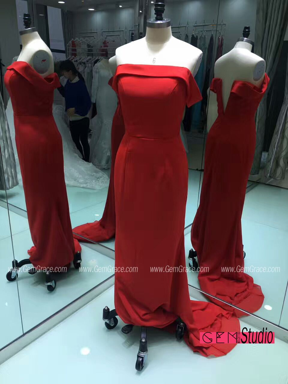 Simple red off shoulder long prom dress for formal occasions custom
