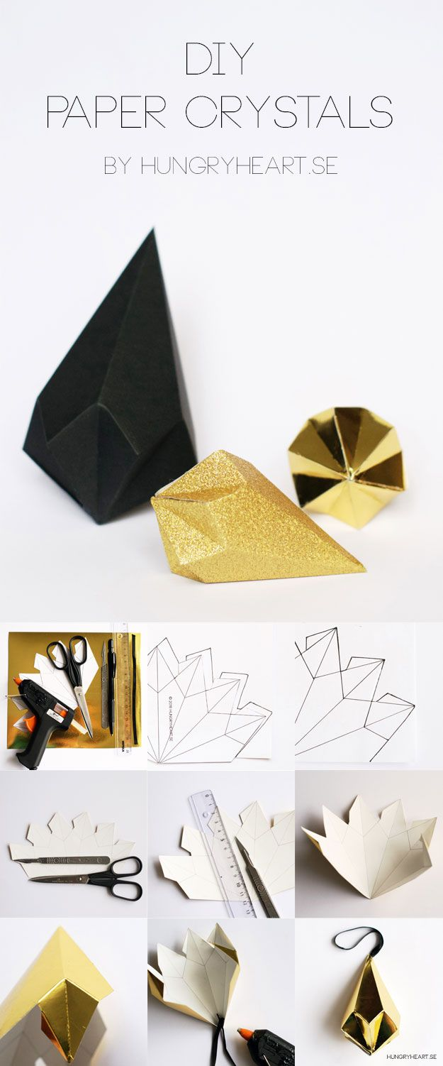 diy paper crystals with free template hungry heart 3d paper