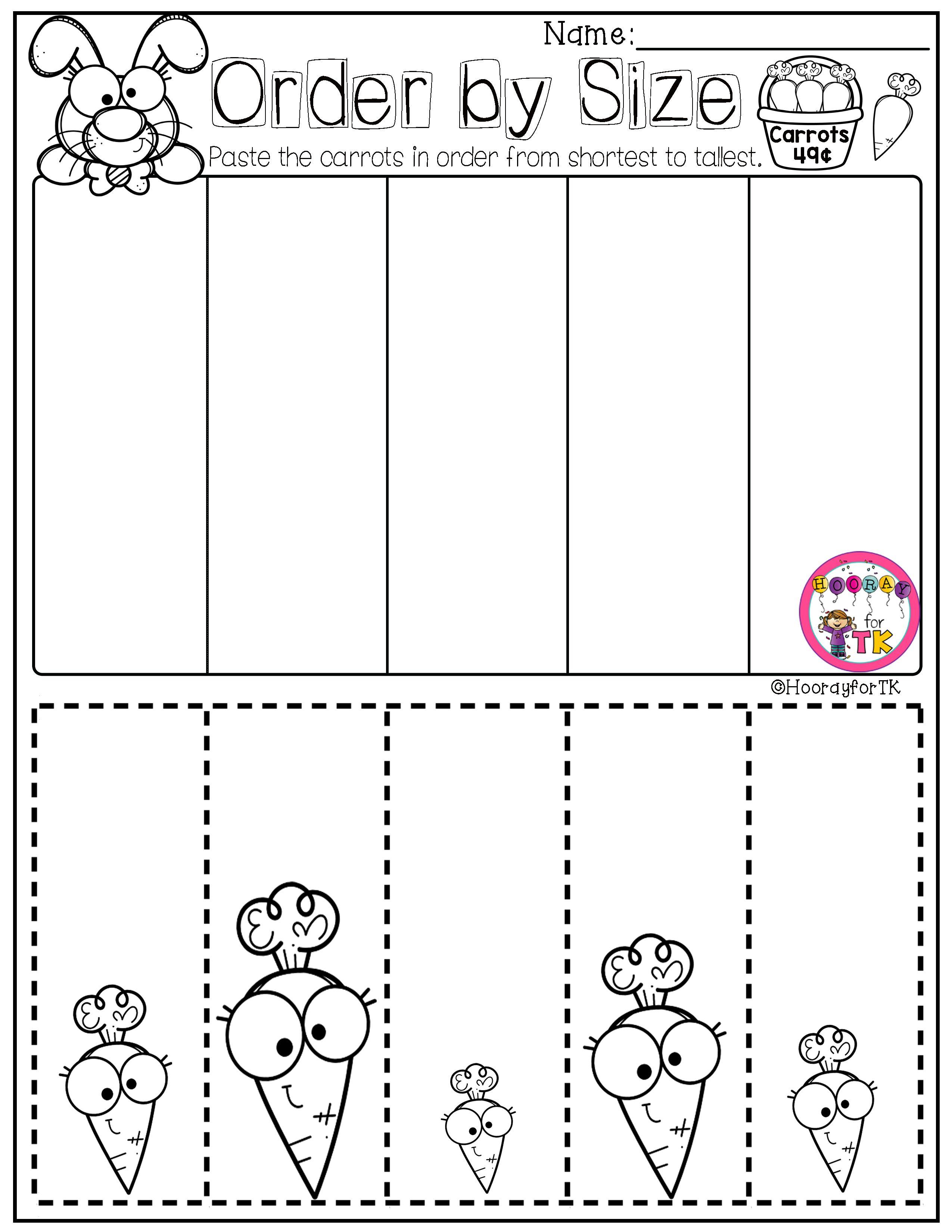 Transitional Kindergarten Worksheets