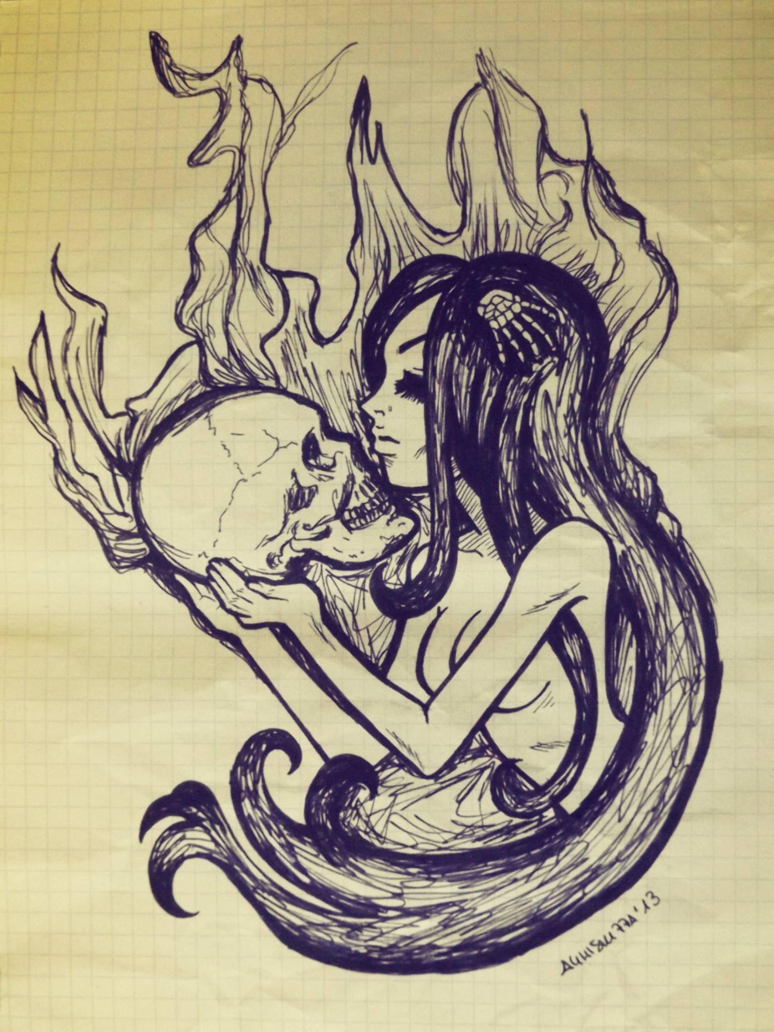 Romantic sketches sketch drawing pen pendrawing girl nude girls body longhair skull fastdrawing fire romance
