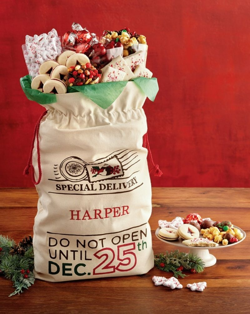 Personalized Santa Sack Of Treats Filled With Endless Christmas Treats Like Cookies Pepperm Christmas Gift Delivery Personalized Santa Christmas Gift Baskets