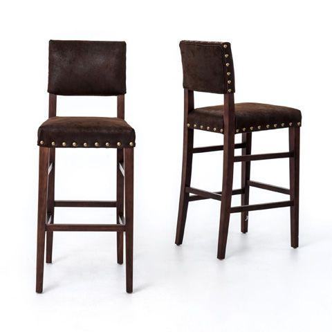 Peachy Four Hands Nubuck Blake Barstool Clin N5K 011 Bar Room Short Links Chair Design For Home Short Linksinfo