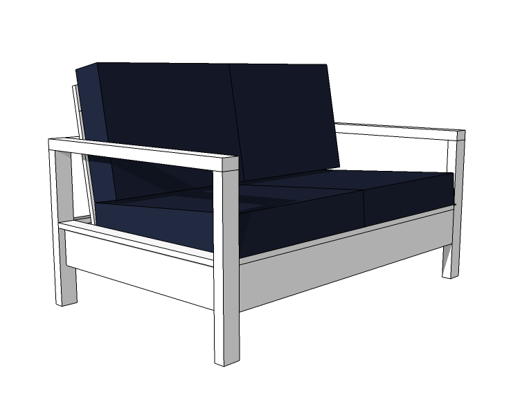 Ana White Build A Simple White Outdoor Loveseat Free And Easy