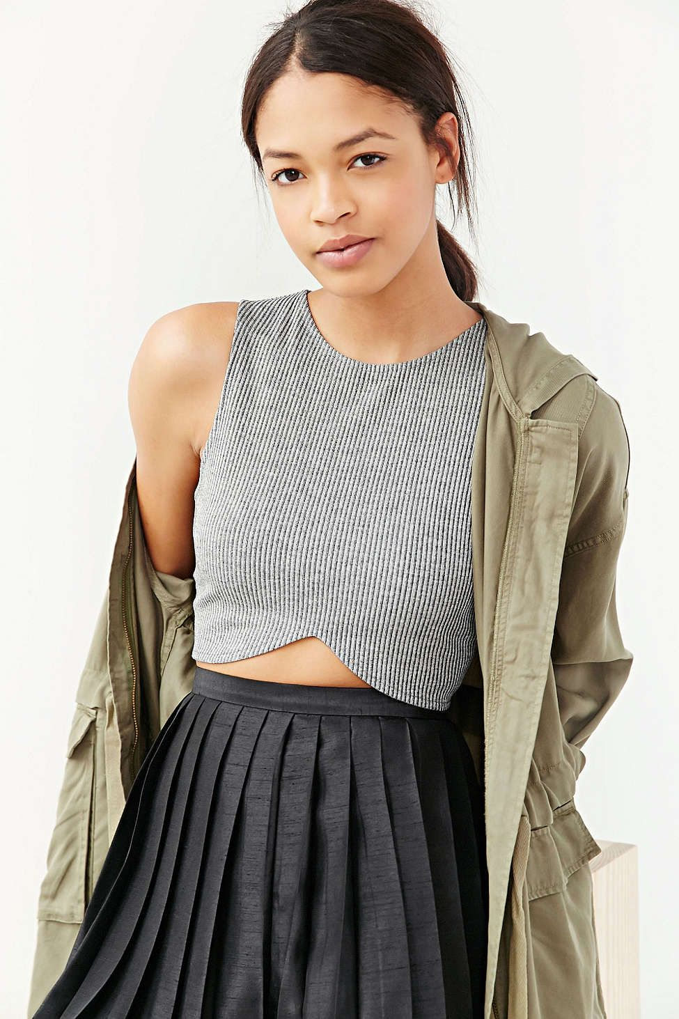 43801f67 Silence + Noise Ribbed Cross-Front Cropped Tank Top - Urban Outfitters