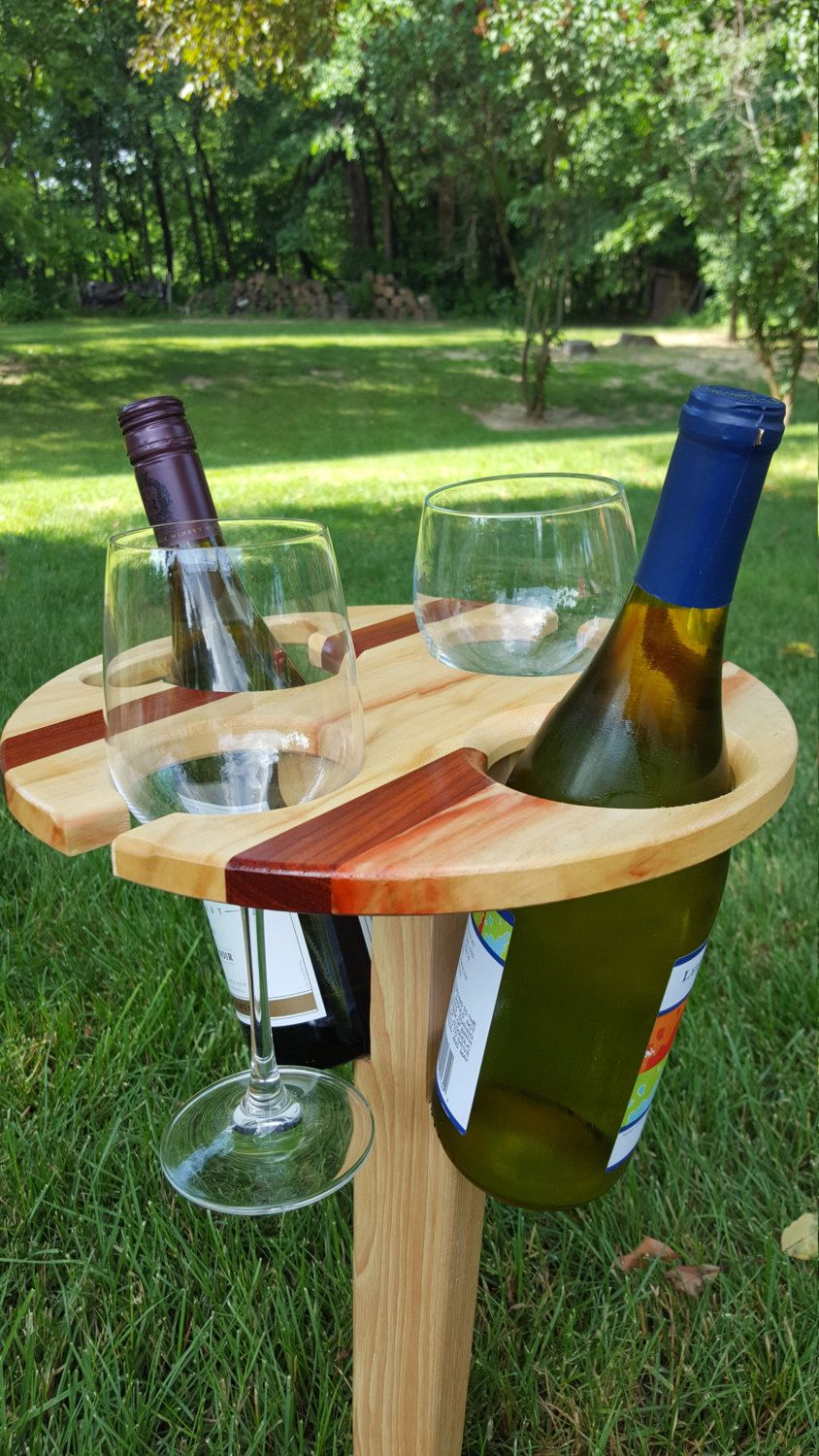 2 Bottle Folding Portable Wine Table Picnic Outdoor