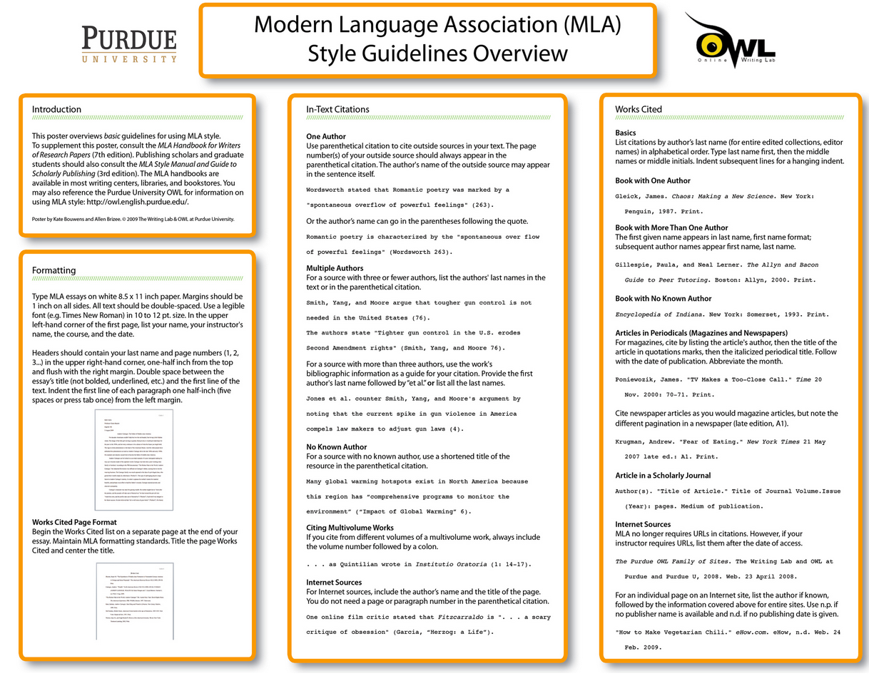 A Handy Mla Poster For Your Clas Teaching Writing Term Paper Educational Technology Purdue Owl Apa Format Book