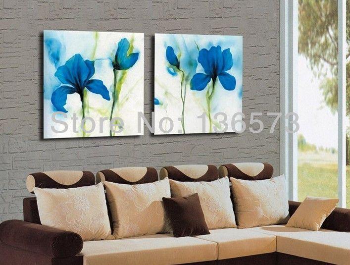 resultado de imagen para tres cuadros de flores al oleo azul