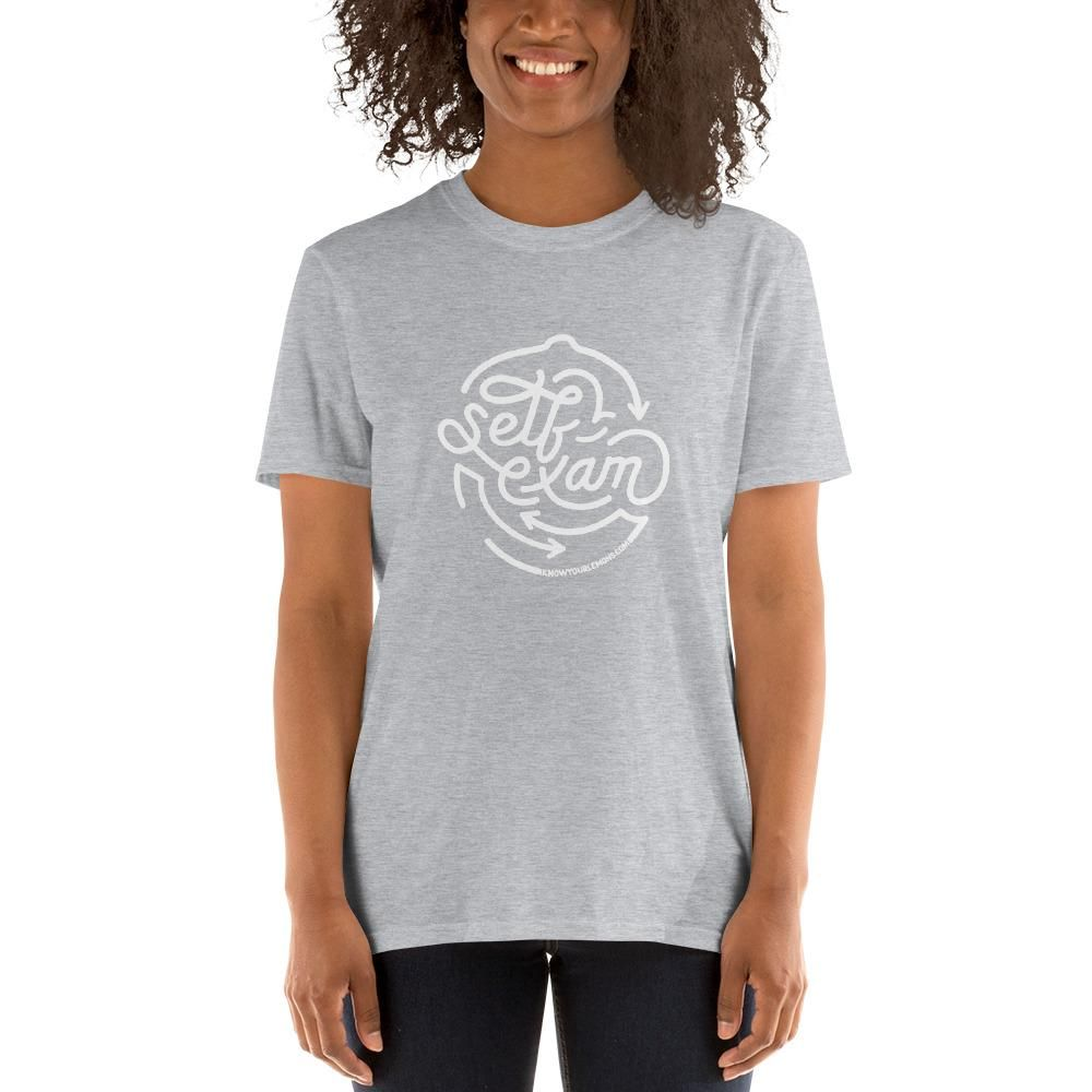 You'll love the design of this self-exam shirt in a variety of colors. 100% of proceeds fund our work in early detection for breast cancer, so thank you for supporting us by letting us have your back! ;) It's made of a thicker, heavier cotton, but it's still soft and comfy. And the double stitching on the neckline and sleeves add more durability to what is sure to be a favorite! • 100% ring-spun cotton • Sport Grey is 90% ring-spun cotton, 10% polyester • Dark Heather is 65% polyester, 35% cotto