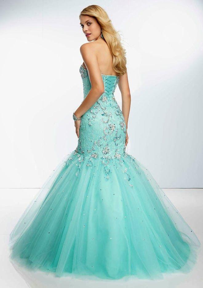 Aqua Blue Strapless Lace Mermaid Wedding Dress with Corset Tie Back ...