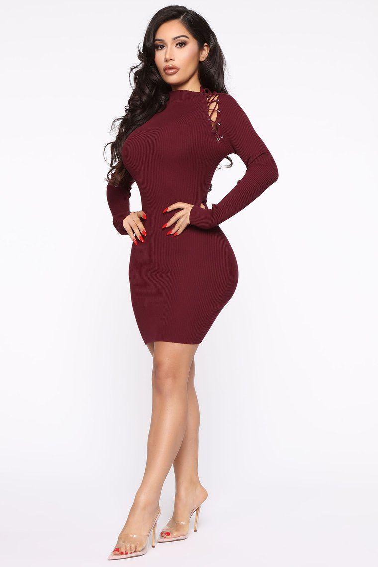 burgundy sweater dress midi