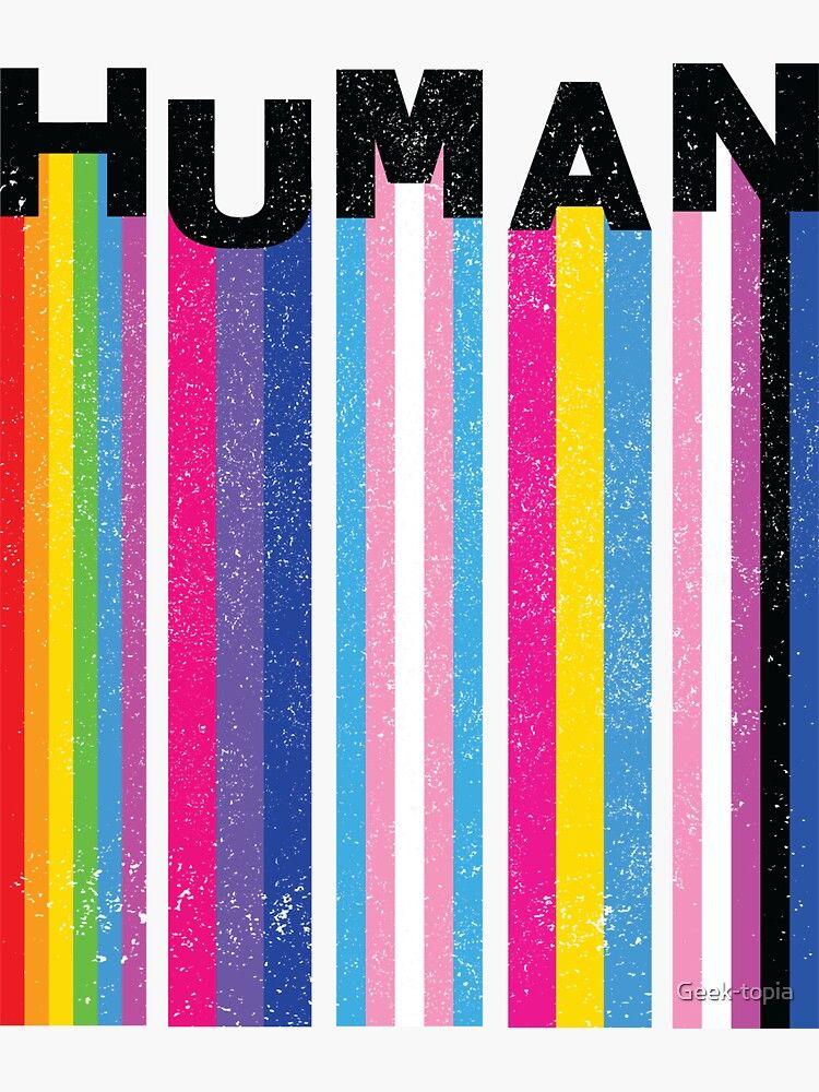HUMAN LGBT Pride Flags Sticker