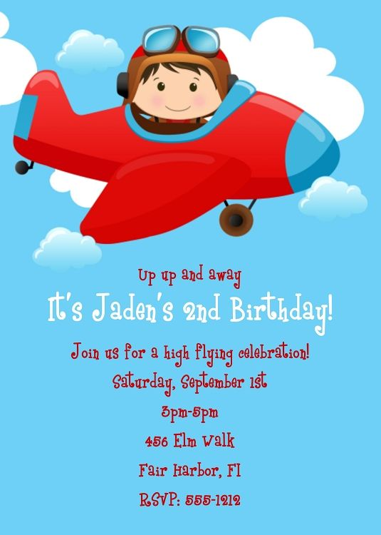 Nice Airplane Birthday Invitations Ideas