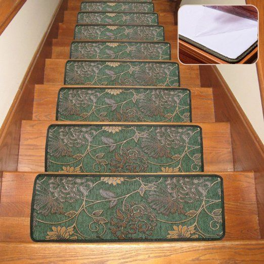Robot Check Stair Tread Rugs Stairs Wooden Steps   Stair Treads With Rubber Backing   Ottomanson Softy   Removable Washable   Wood   Slip Resistant   Outdoor Stair