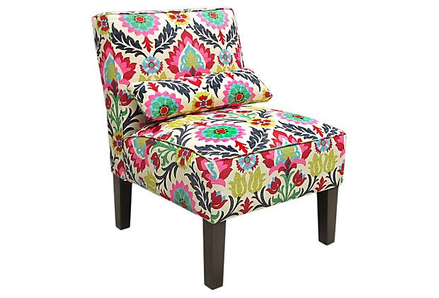Best Bergman Armless Accent Chair Pink Yellow Furniture 400 x 300