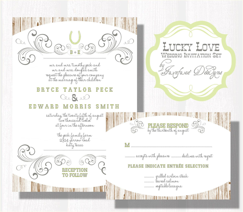 Lucky Love Wedding Invitation Set, Sample Purchase - Pocketfold ...