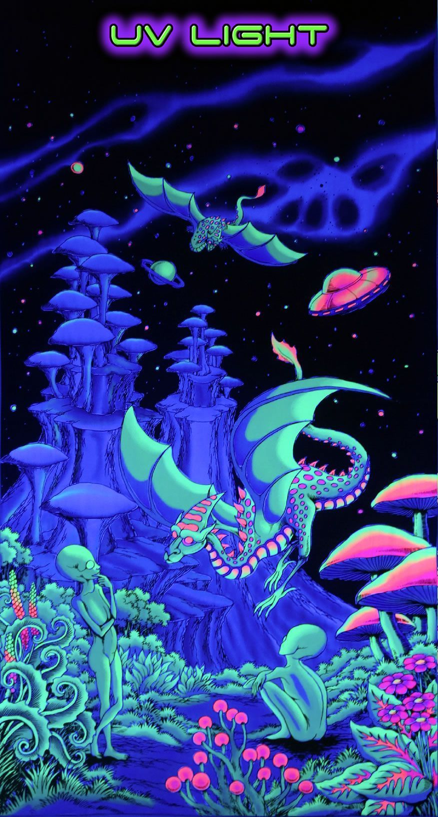 Uv Wallhanging Aliens And Dragons Psychadelic Art Trippy