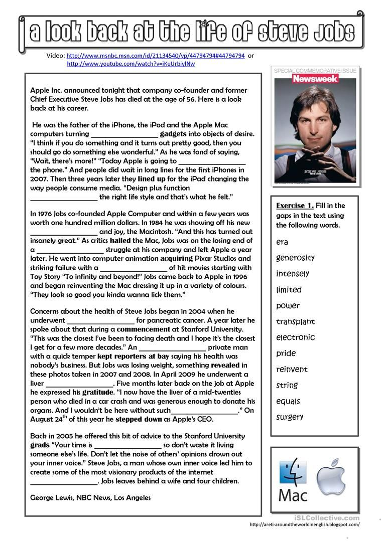 A Look Back At The Life Of Steve Jobs Worksheet Free Esl Printable Worksheets Made By Teachers Reading Comprehension Texts Steve Jobs English Reading [ 1079 x 763 Pixel ]