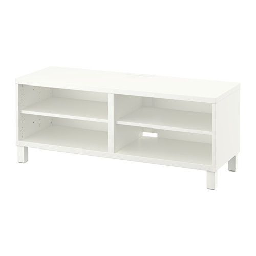 IKEA - BESTÅ, Tv-taso, valkoinen, , Tason takaosassa olevien johtoaukkojen ansiosta tv:n ja muiden laitteiden johdot on helppo piilottaa siististi, mutta kuitenkin niin, että niihin pääsee tarvittaessa helposti käsiksi.Takana oleva johtoaukko helpottaa johtojen järjestämistä.