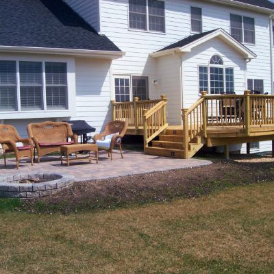 Deck And Patio Design With Built In Fire Pit Hawthorn Woods Il