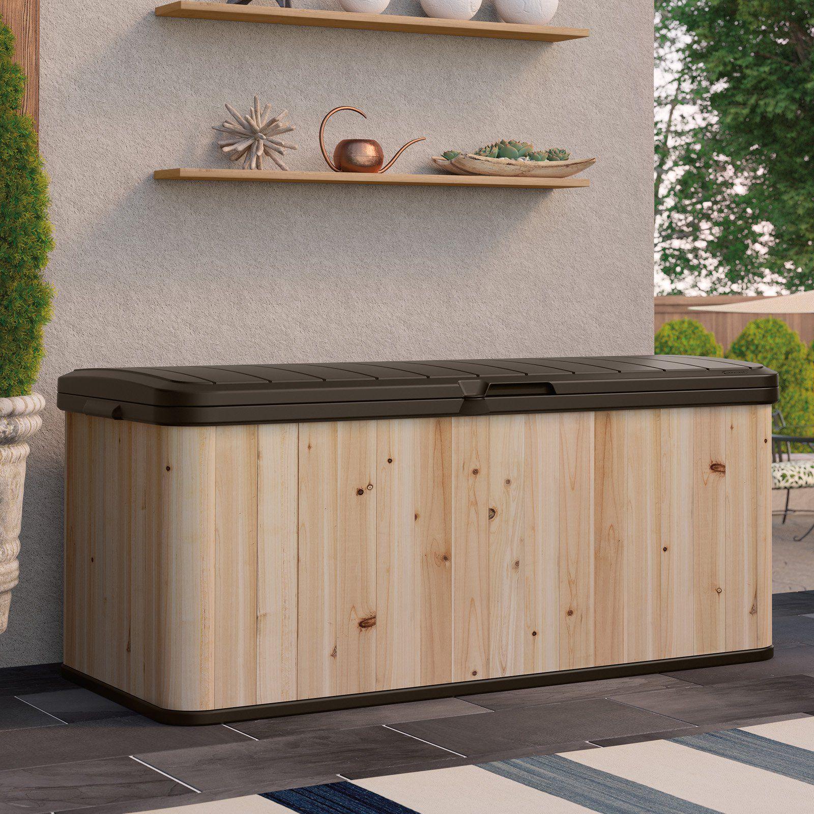 Suncast Extra Large Cedar And Plastic 120 Gallon Deck Box Wrdb12000 Resin Deck Box Patio Storage Deck Box Storage