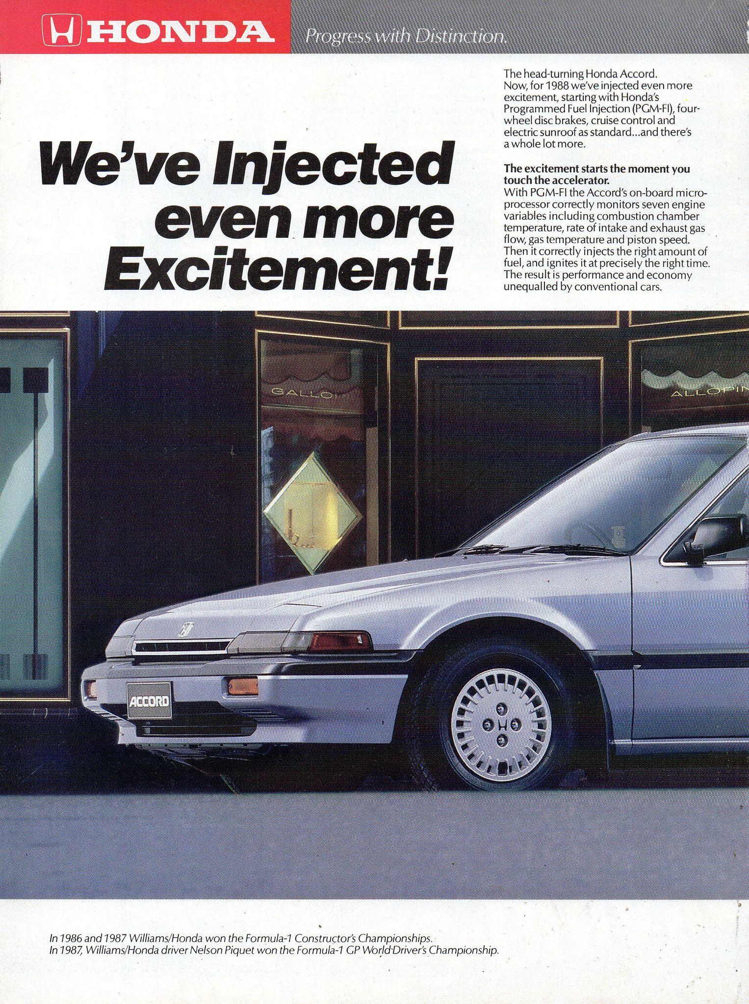 1988 Honda Range Of Prestiage Cars Accord 2 0si Sedan Page 10 Aussie Original Magazine Advertisement Honda Sedan Car Advertising