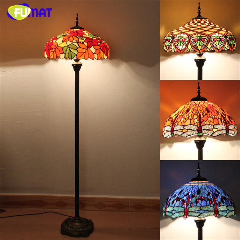 Art Tiffany Floor Lamp Stained Glass Maple Leave Peacock Baroque Stand Lampe Living Room Hotel Bar Decor Light Fixture