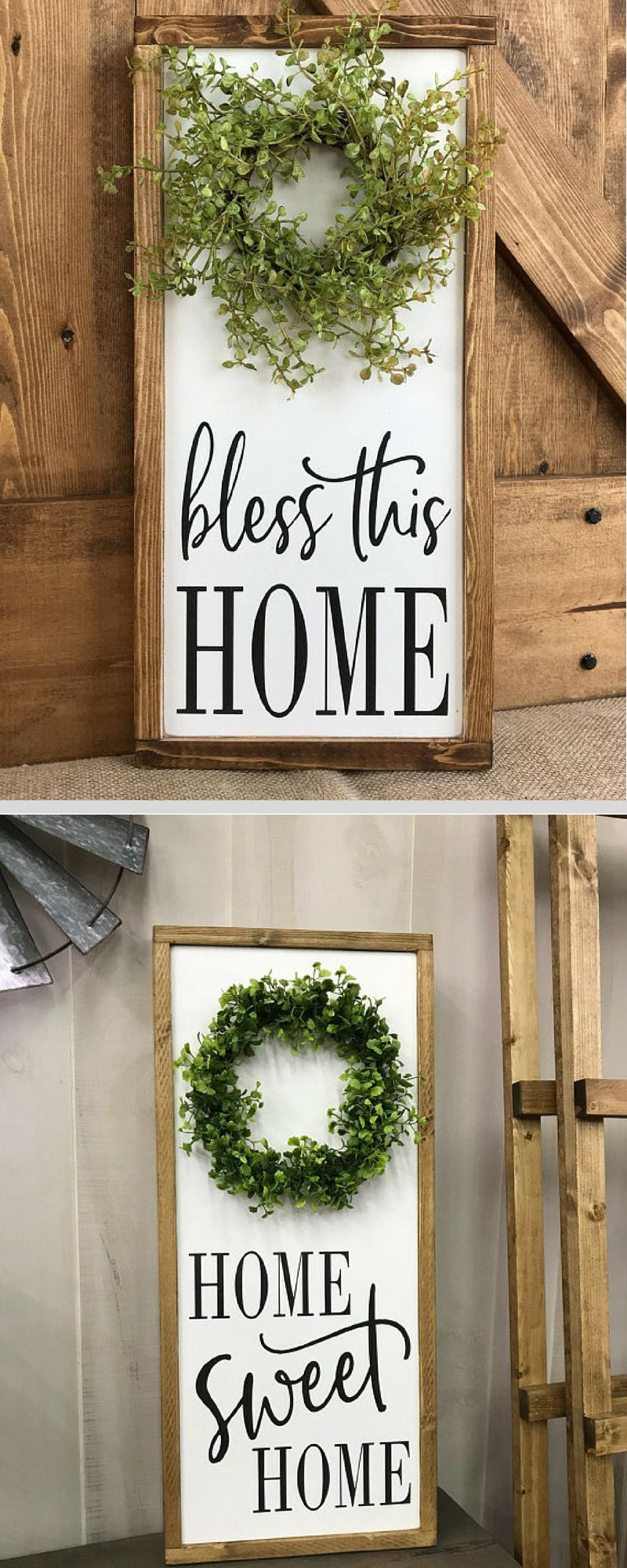 Farmhouse Home Decor Signs Bless This Home Home Sweet Home Rustic