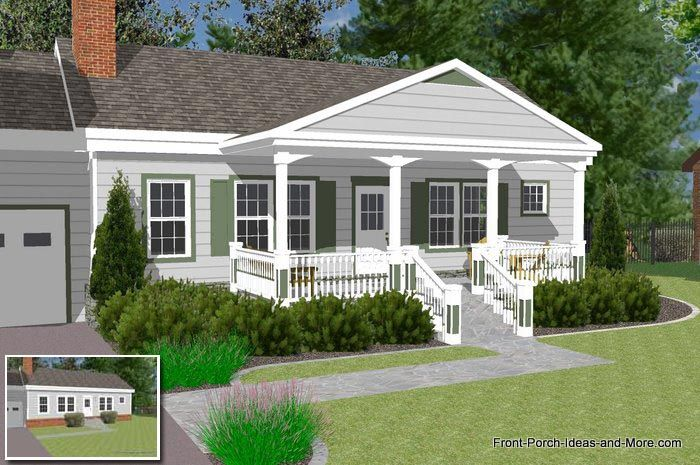 Great Front Porch Designs Illustrator On A Basic Ranch Home Design Porch Design Porch Roof Design Front Porch Design