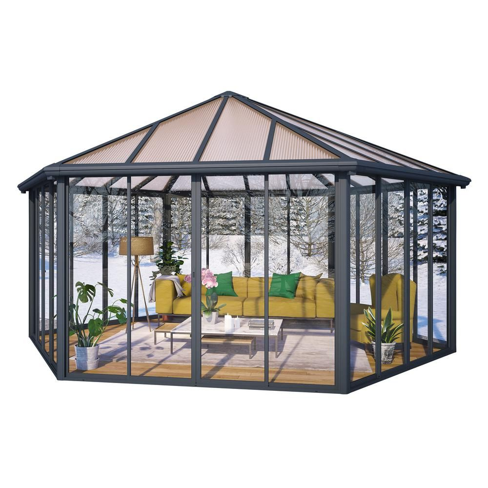 Palram Garda 19 5 Ft X 17 Ft Aluminum Frame Hard Top Closed Garden Gazebo 704467 The Home Depot Garden Gazebo Pergola Patio Patio Gazebo