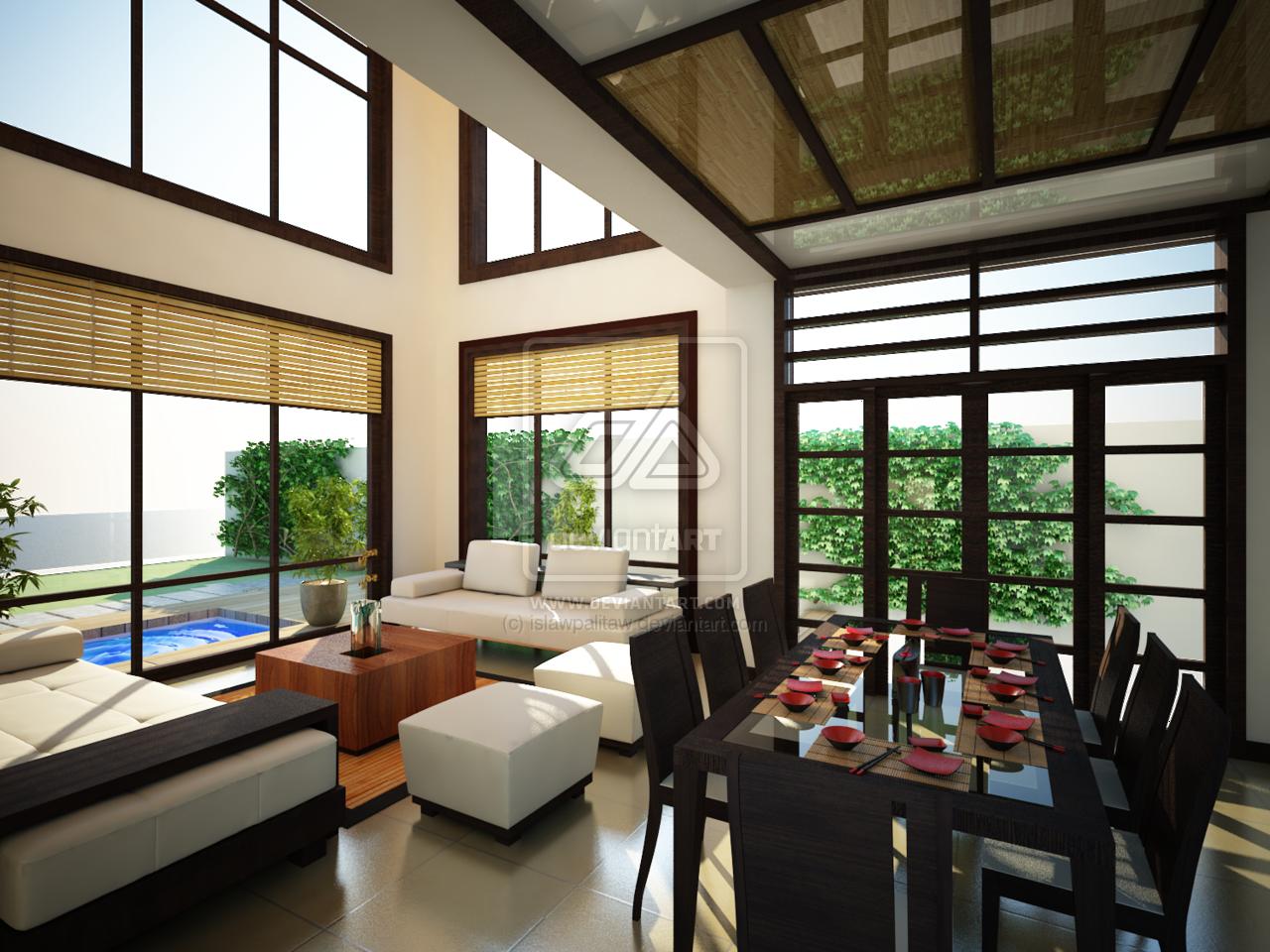 japanese inspired living room furniture arrangement for long narrow by islawpalitaw deviantart com on