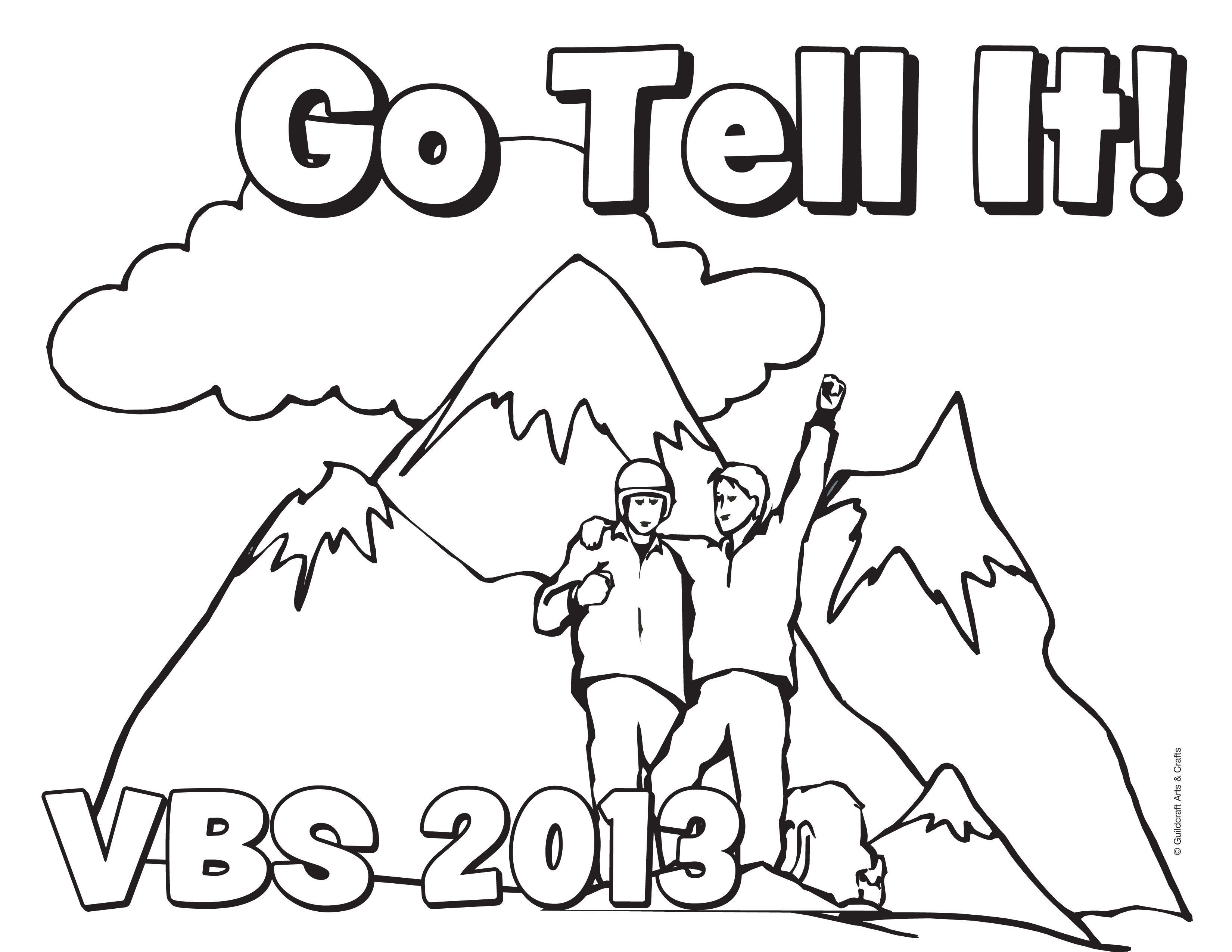 Free Go Tell It VBS 2013 coloring sheet from Guildcraft