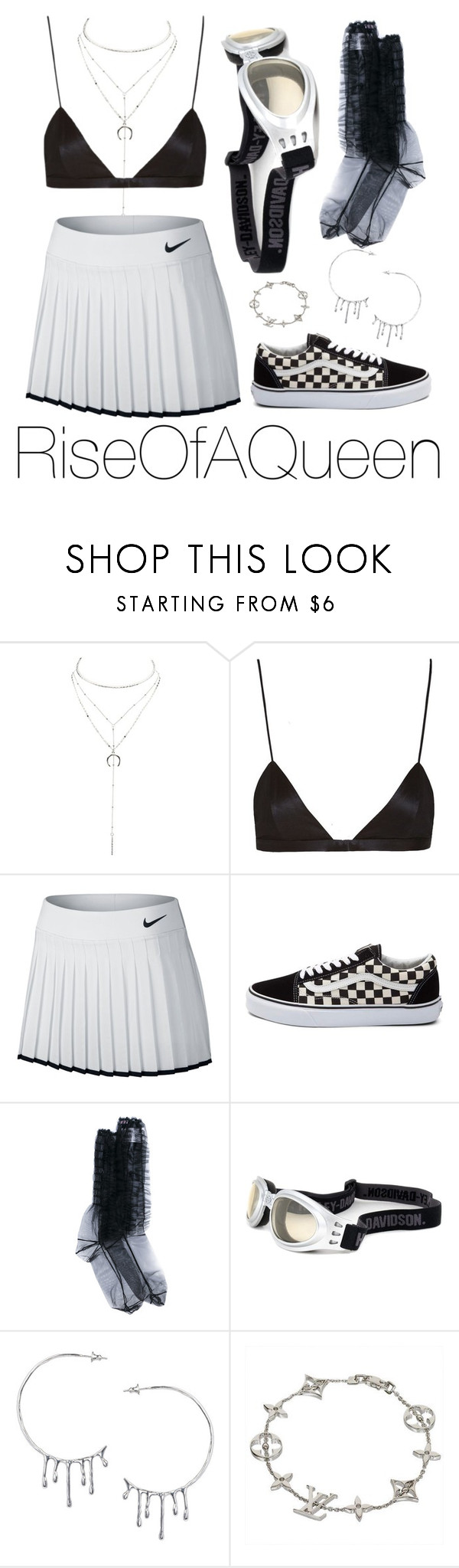 """You Don't Even Play Tennis 🙄"" by riseofaqueen on Polyvore featuring Charlotte Russe, NYX, NIKE, Vans, MSGM, Harley-Davidson, Annika Burman and Louis Vuitton"
