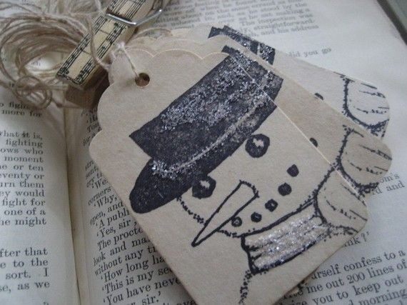 Frosty the Snowman Shabby Tags Set of 16 by AnneMariePaperie