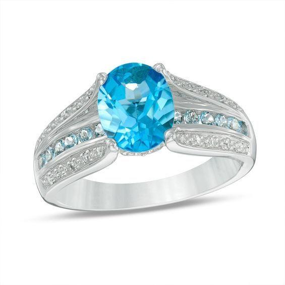 Zales Oval Blue Topaz and 1/10 CT. T.w. Diamond Split Shank Ring in Sterling Silver HQd9LXcUAi