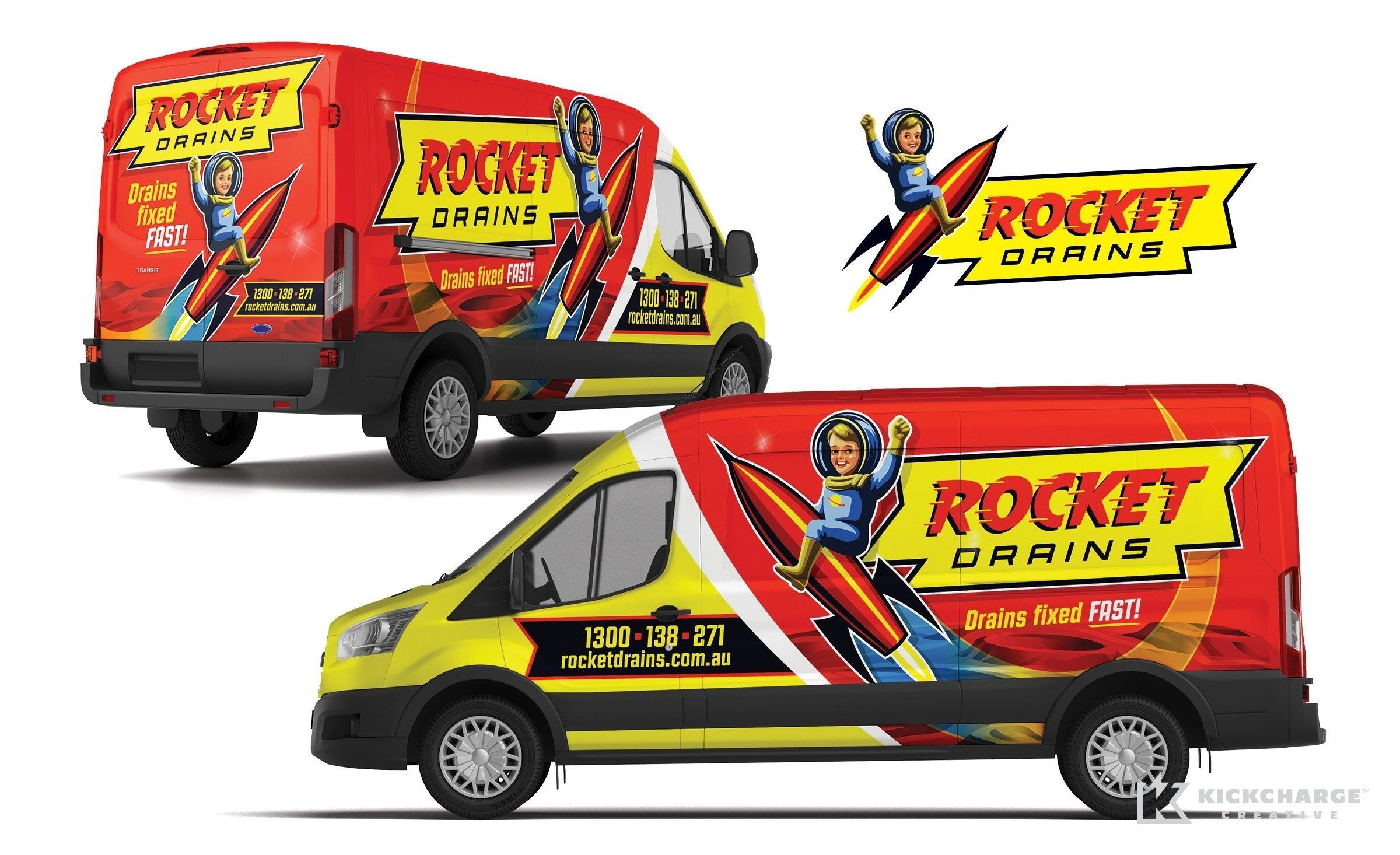 Rocket Drains Kickcharge Creative Cool Trucks Car Wrap Design