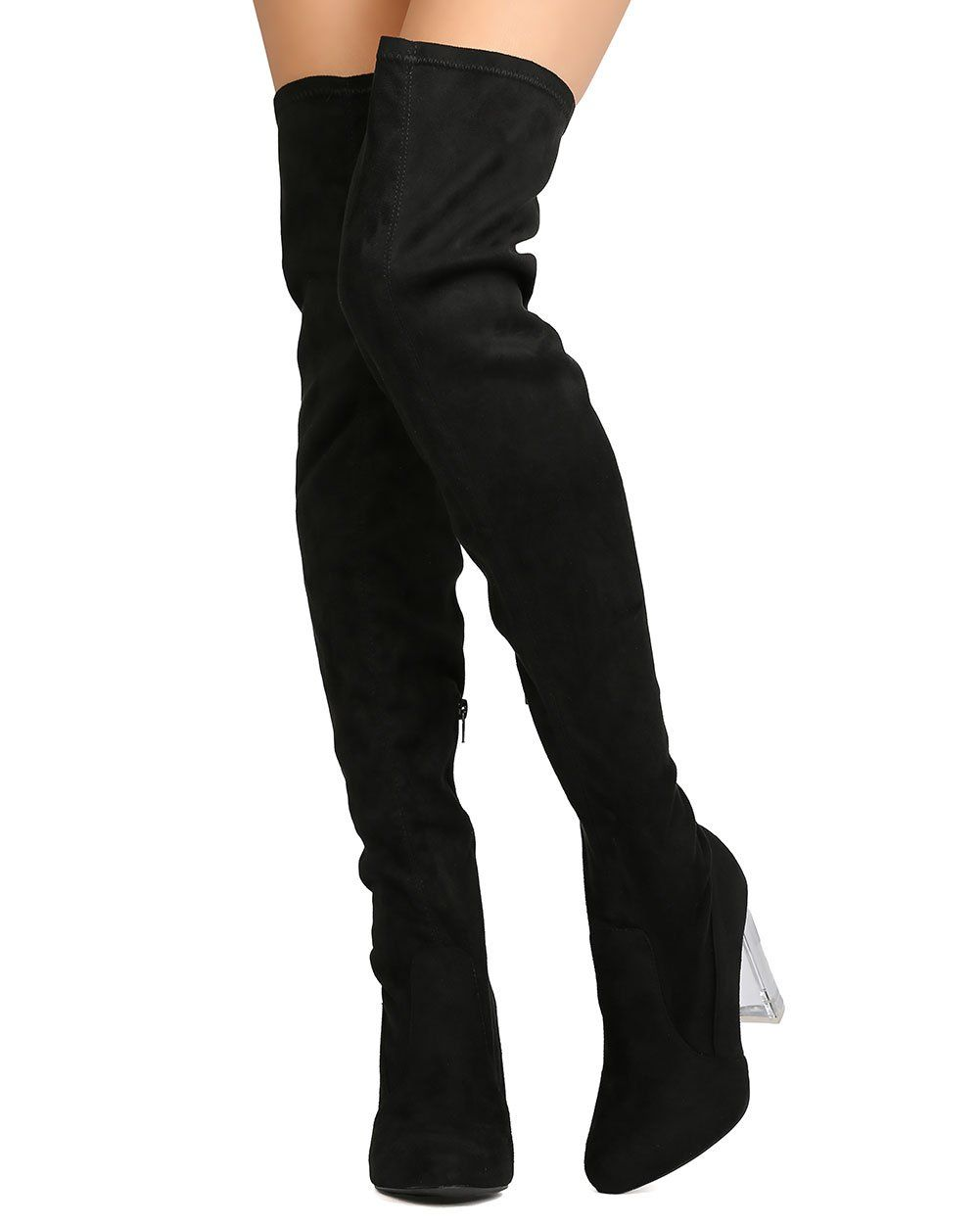 747445d6b41 Wild Diva GA41 Women Faux Suede Thigh High Lucite Block Heel Boot Black  Size  6.5     Want to know more