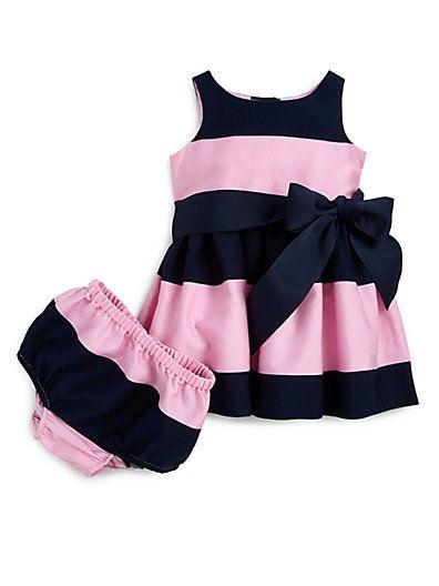 Ralph Lauren - Infant's Rugby Striped Sateen Dress & Bloomers Set - Saks.com