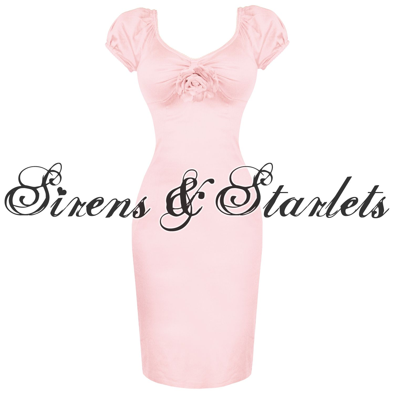 LADIES PINK FITTED VTG 50S BETTIE PAGE STYLE COCKTAIL PARTY CAREER PENCIL DRESS