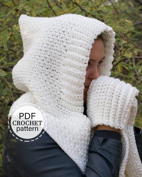 Woodland Hooded Scarf Crochet Pattern, Hooded Scar