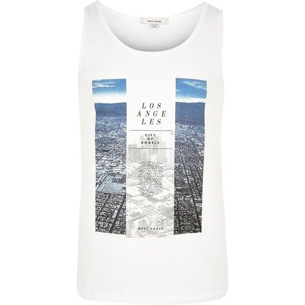River Island White Los Angeles print vest (28 CAD) ❤ liked on Polyvore featuring men's fashion, men's clothing, men's outerwear, men's vests, vests, mens vest, mens white vest and mens vests outerwear