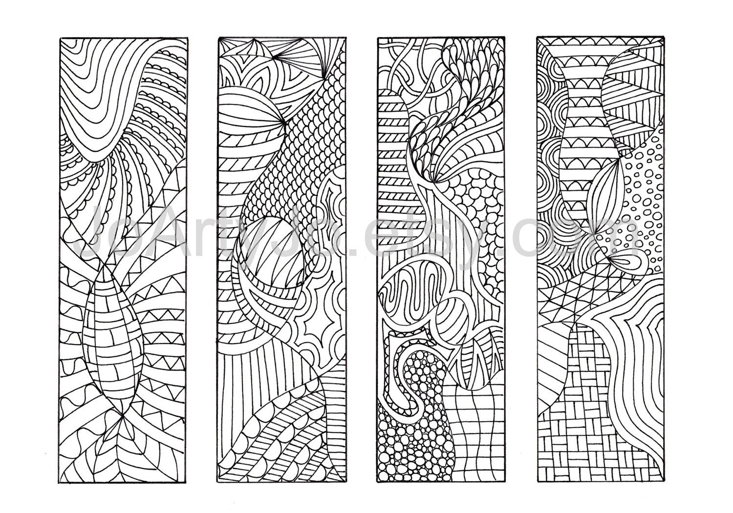 Zen doodle colour - Diy Zentangle Inspired Bookmarks Zendoodle Printable Coloring Digital Download Sheet 4 4 00