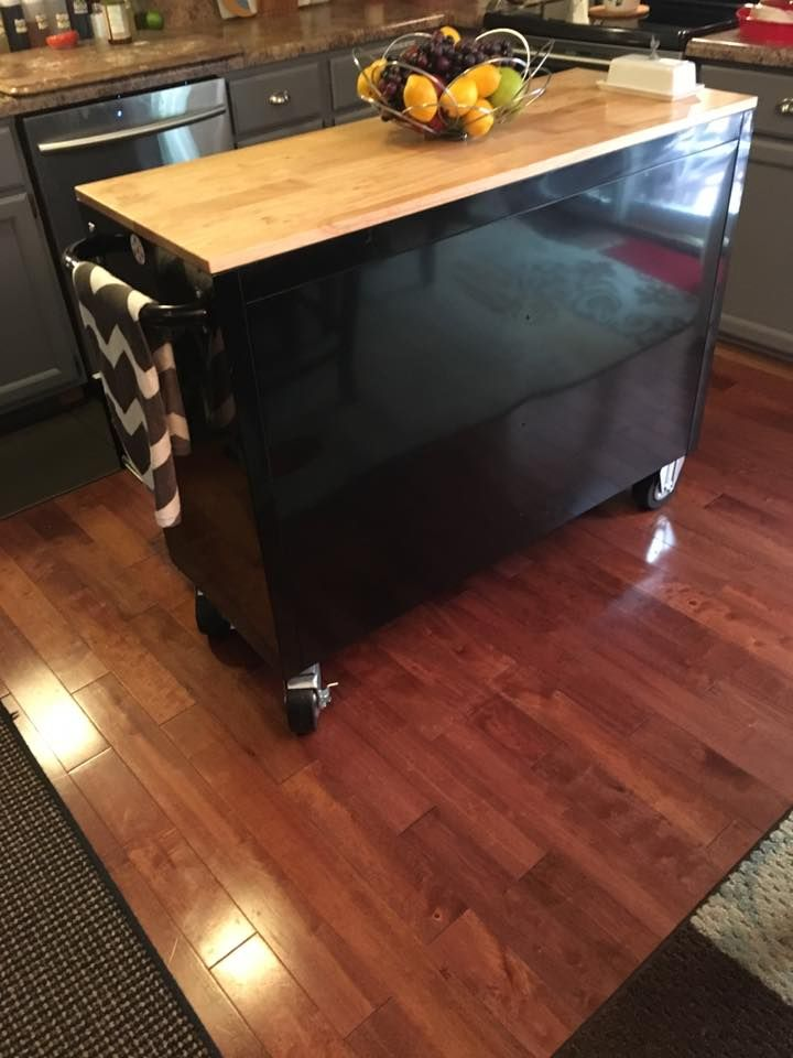 A Husky Tool Chest From Home Depot Andi Use It For My Center Island I Got It Reduced Due To A Small Den Diy Kitchen Island Kitchen Decor Kitchen Island Bench