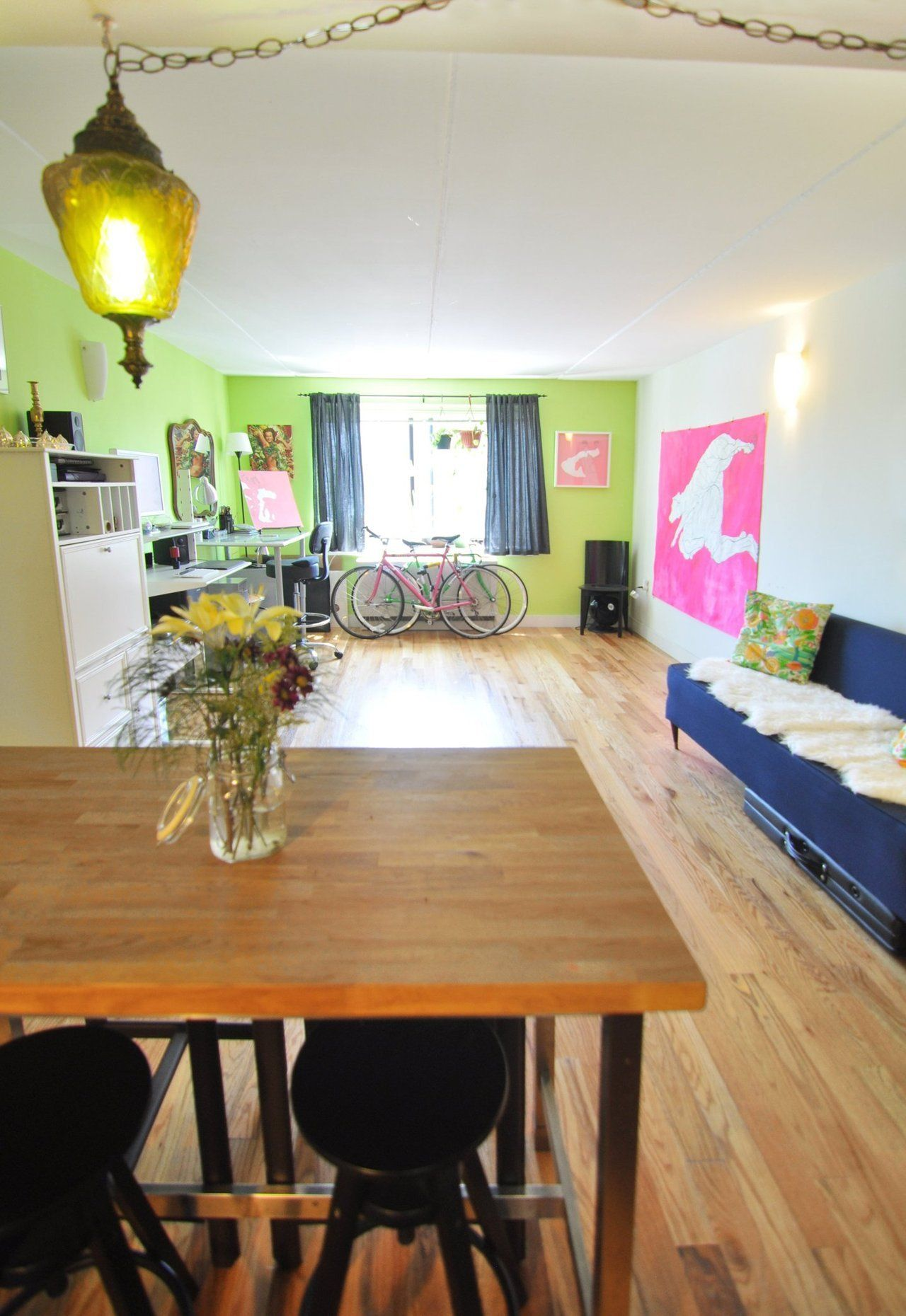 Emily's Bright & Artful BedStuy Apartment Open kitchen