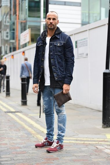 Men\u0027s Navy Denim Jacket, Black Hoodie, White Crew,neck T,shirt, Blue Ripped  Skinny Jeans