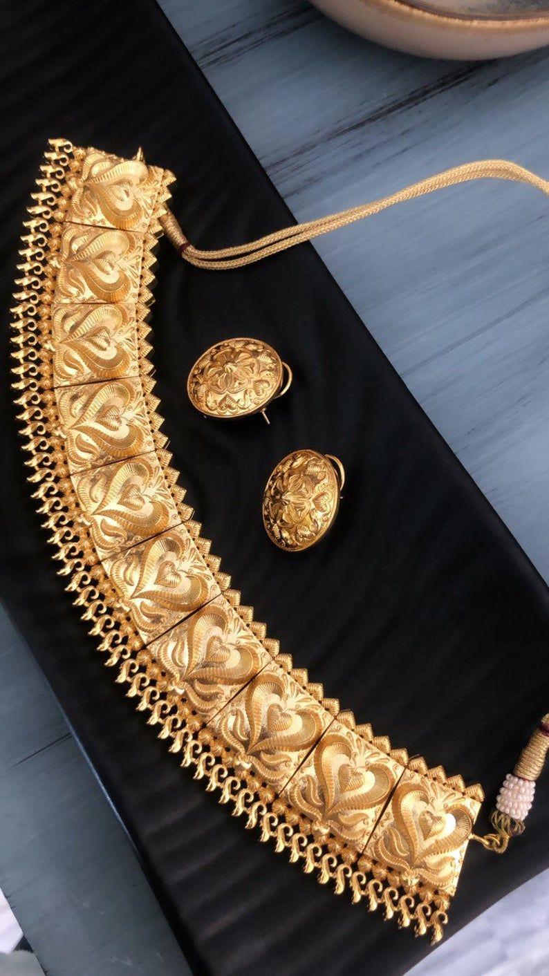 Deepika Padukone Gold Plated choker Necklace Set inspired ...