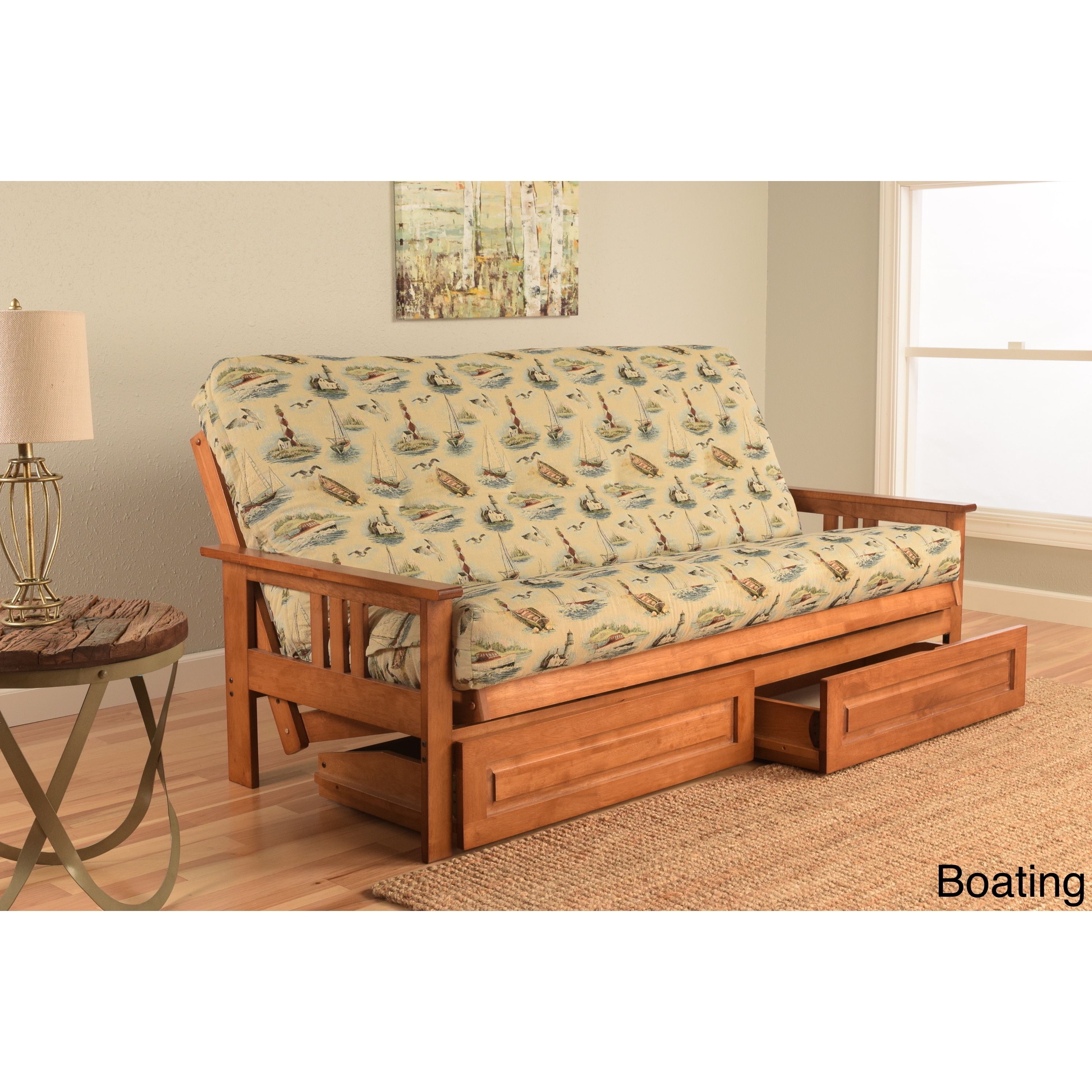 Somette Beli Mont Fabric Wood Futon Set with Barbados Frame and