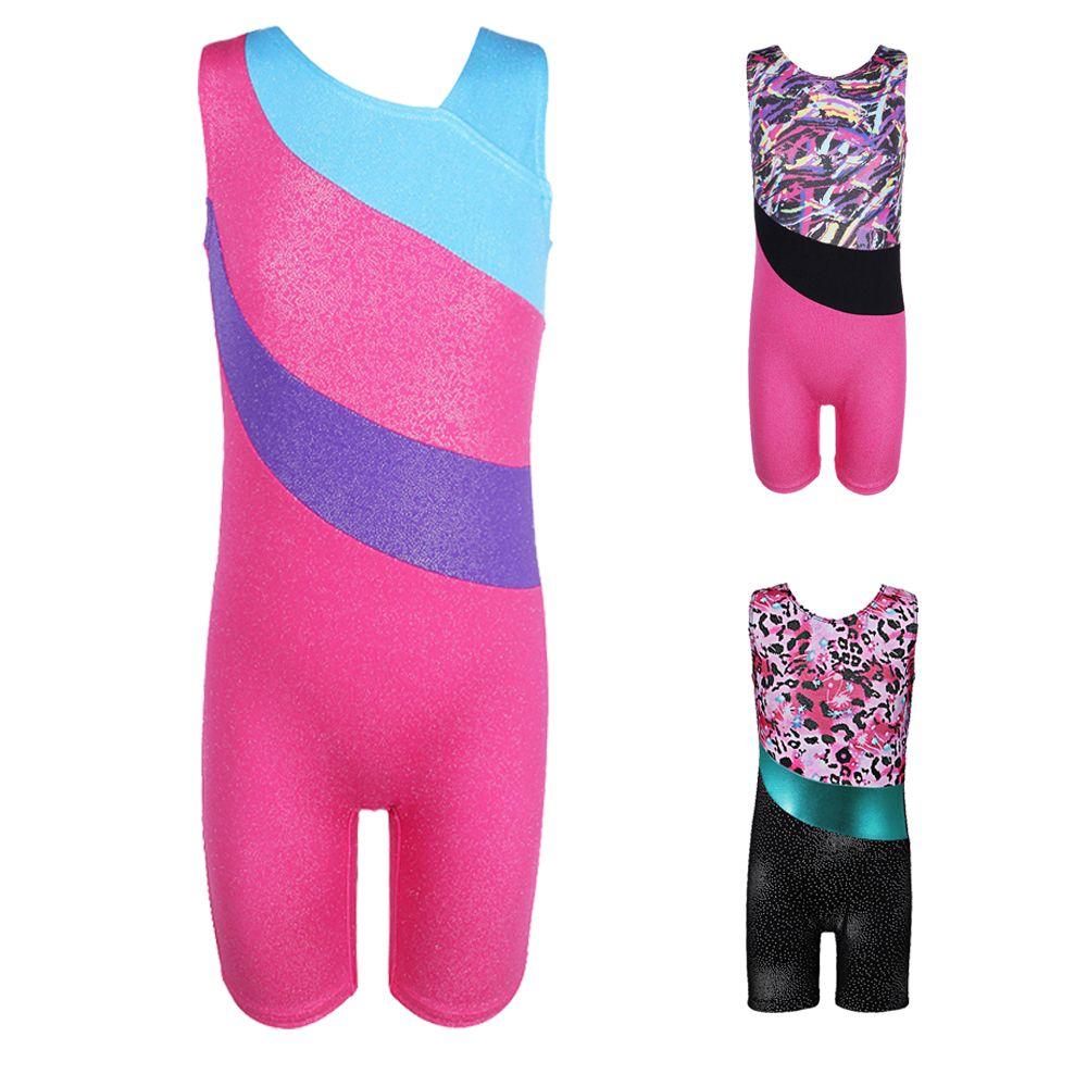 Kids Girls Sleeveless Gymnastics Leotard Dress Ballet Athletic Dancewear Costume