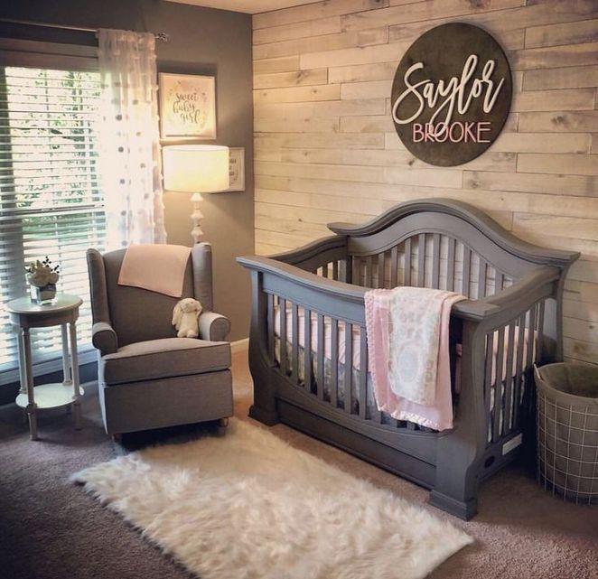 37 Nursery Ideas Neutral Rustic Grey Exposed 42 Baby Girl Nursery Room Nursery Baby Room Girl Nursery Room