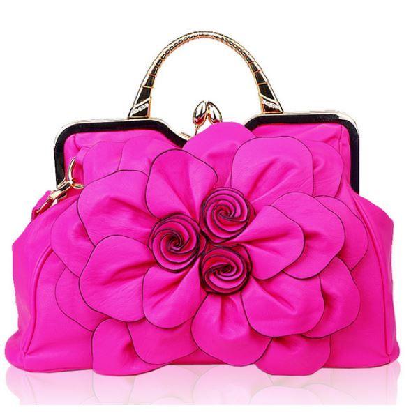 HOT PINK Big Flower PU Leather Handbag Fashion-Bridesmaid Hot Pink Purse