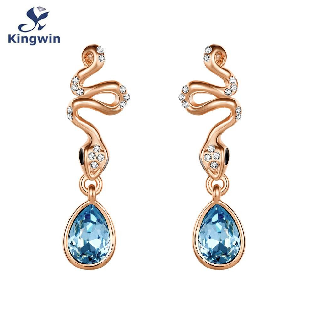 Wholesale Gold Plated sky blue crystal Earrings Women New Fashion